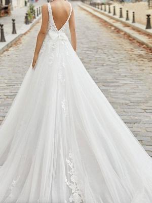 Ivory Simple Wedding Dress A Line V Neck Sleeveless Applique With Long Train Bridal Dresses_2