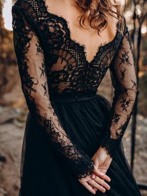 Black Wedding Dresses A-Line Designed Neckline Long Sleeves Natural Waistline Tulle Lace Sweep Bridal Gown_4