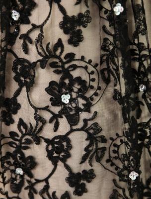 Black Wedding Dress A-Line Scoop Neck Sequin Chapel Train Lace Wedding Gown Exclusive_8