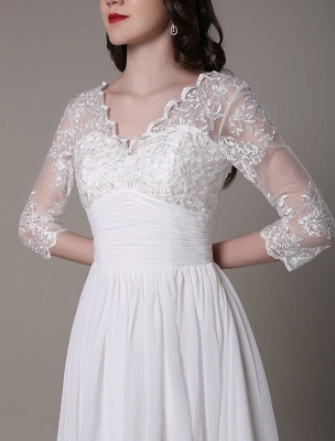 Simple Wedding Dressses Chiffon V Neck Lace A Linepleated Bridal Dress Exclusive_9