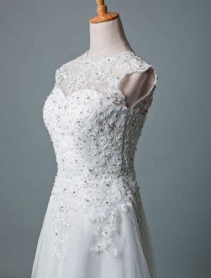 Vestido de novia vintage Hasta el té Cuello joya Sin mangas Una línea Cintura natural Tul Vestido de novia corto Exclusivo_5