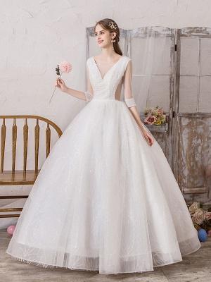 Brautkleid Prinzessin Silhouette Bodenlangen V-Ausschnitt Ärmellos Natürliche Taille Perlen Lycra Spandex Brautkleider_3
