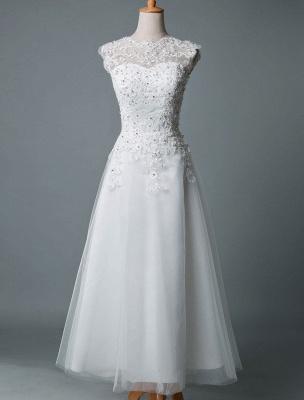 Vestido de novia vintage Hasta el té Cuello joya Sin mangas Una línea Cintura natural Tul Vestido de novia corto Exclusivo_1