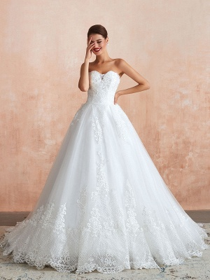 Wedding Dress Princess Silhouette Sweetheart Neck Sleeveless Natural Waist Bridal Gowns With Train_1