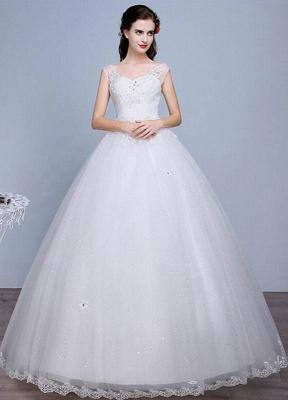 Ivory Wedding Dress Lace Sleeveless V Neck Rhinestones Beaded A-Line Floor Length Bridal Gown_1