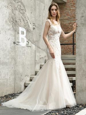 Wedding Dress Jewel Neck Sleeveless Natural Waist Lace Bridal Mermaid Dress With Train_6