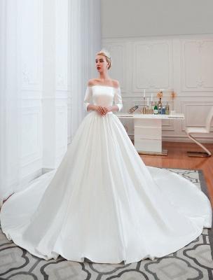 Vintage Brautkleid 2021 Satin 3/4 Ärmel schulterfrei bodenlangen Brautkleider mit Kapelle Zug_2