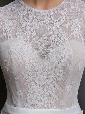 Brautkleid mit Zug A-Linie mit langen Ärmeln Chiffon Jewel Neck Elfenbein Brautkleider_3