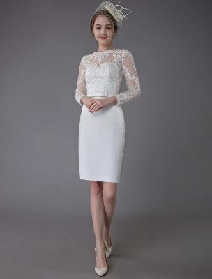 Vintage Brautkleider Jewel Langarm Etui Kurzes Brautkleid Exklusiv_1