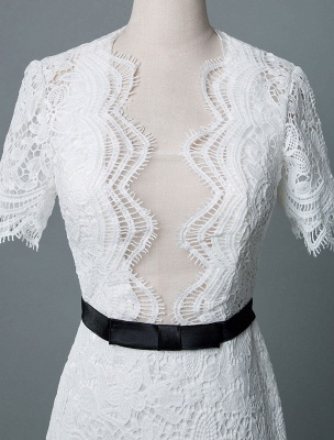 Einfache Brautkleider V-Ausschnitt Kurze Ärmel Mantel Knielang Vintage Brautkleider Exklusiv_5