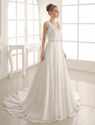 Exklusives Brautkleid mit Umlegekragen und plissiertem Satin_1