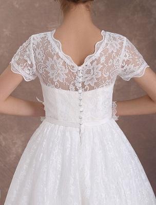 Lace Wedding Dresses Short Sleeve 1950'S Vintage Bridal Dress Sweetheart Illusion Ivory A Line Tea Length Wedding Reception Dress Exclusive_9