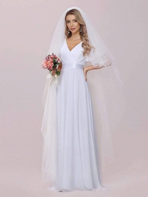 Simple Wedding Dress Chiffon V-Neck Short Sleeves Backless A-Line Long Bridal Gowns_7
