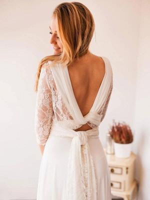 Robes de mariée A-ligne Jewel Neck manches longues en dentelle dos nu en mousseline de soie Robes de mariée_4