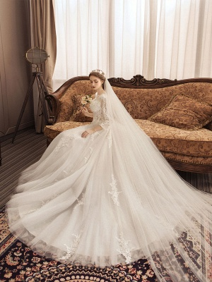 Ivory Wedding Dresses Lace Applique Jewel Neck 3/4 Length Sleeve Princess Bridal Gown With Train_4
