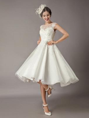 Vintage Brautkleider Kurze Spitze Tüll Pailletten Tee Länge Elfenbein Brautkleid_1
