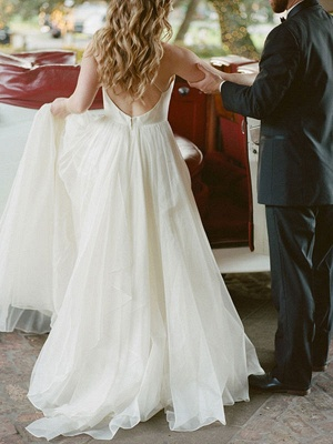 A Line Wedding Dress Ivory Blackless V Neck Spaghetti Straps Wedding Dress_4