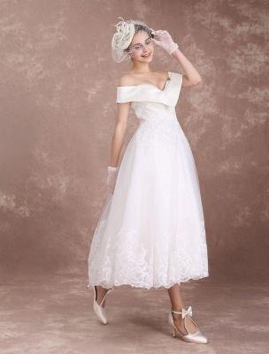 Vintage Wedding Dresses Off The Shoulder Short Bridal Dress 1950'S Lace Applique Beaded Tea Length Wedding Reception Dress Exclusive_5