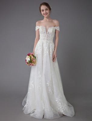 Robes de mariée d'été hors de l'épaule dentelle champagne appliques perles maxi plage robes de mariée_1