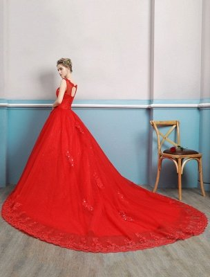 Red Wedding Dresses Lace Applique Beaded Princess Ball Gowns Train Bridal Dress_2