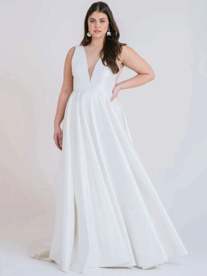 Weißes einfaches Brautkleid A-Linie mit Zug V-Ausschnitt Ärmellose Taschen Satin Stoff Brautkleider_2