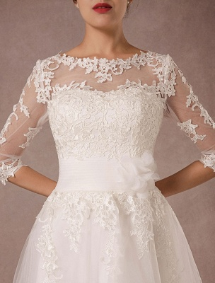 Short Wedding Dress Vintage Lace Applique Long Sleeves Tea Length A Line Tulle Bridal Gown With Flower Sash Exclusive_8