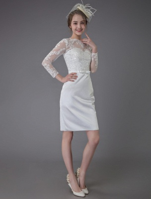 Vintage Brautkleider Jewel Langarm Etui Kurzes Brautkleid Exklusiv_5
