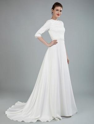 Einfache Hochzeitskleid Perlen Schärpe Rückenfrei Bateau-Ausschnitt Halbarm A-Linie Brautkleider Mit Hofzug Exklusiv_8