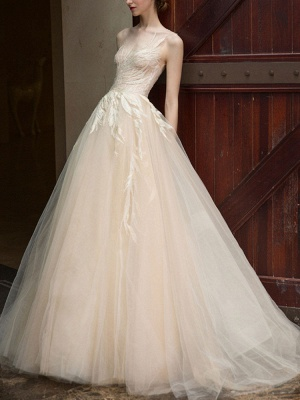 Wedding Dress 2021 Princess Silhouette Floor Length Jewel Neck Sleeveless Natural Waist Lace Tulle Bridal Gowns_2