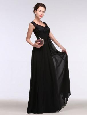 Black Evening Dress Lace Sweatheart Maxi Party Dress A Line Sleeveless Floor Length Mother'S Dress_7