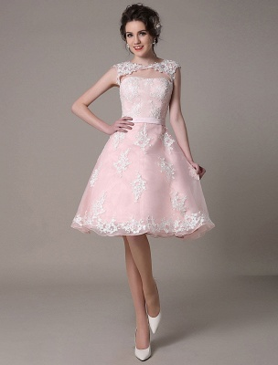 Lace Wedding Dress Cut Out Knee Length A-Line Bridal Dress With Satin Bow Exclusive_2