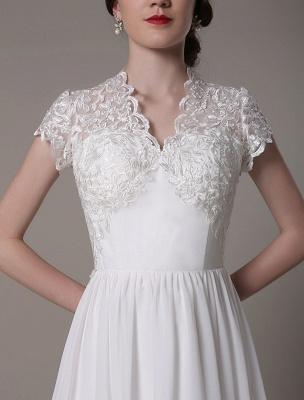 Sheath Wedding Dress V-Neck Lace Chiffon Pleated Floor Length Bridal Dress Exclusive_10
