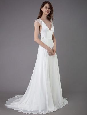 Strand-Hochzeitskleider-Spitze-Satin-A-Linie-Elfenbein-Luxus-Rücken-Kreuz-High-Split-Sommer-Brautkleider-Mit-Zug_4