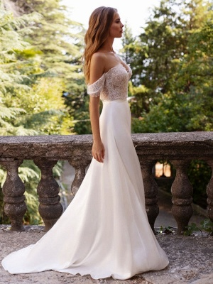 White Simple Wedding Dress Satin Fabric Strapless Sleeveless Cut Out A-Line Off The Shoulder Long Bridal Dresses_4