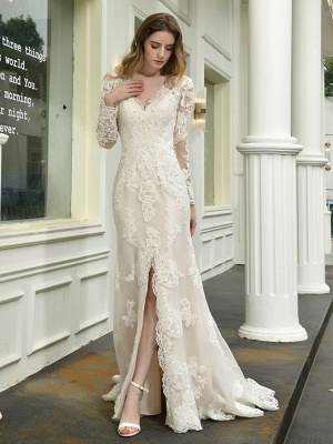 Boho Wedding Dress V Neck Sleeveless Natural Waist Lace Bridal Gowns With Train_7