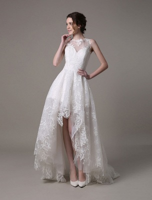 2021 Lace High-Low Brautkleid mit Llusion-Ausschnitt und Rücken exklusiv_3