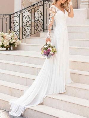 Spitze Brautkleider 2021 Chiffon V-Ausschnitt A-Linie Langarm Spitze Applique Strandhochzeit Brautkleid mit Zug Freie Anpassung_2