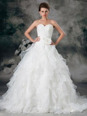 Glamouröses Elfenbein Gerafftes Herzausschnitt A-Linie Brautkleid aus Organza_1