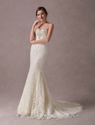 Mermaid Wedding Dresses Lace Strapless Ivory Sweetheart Beaded Bridal Dress With Train Exclusive_1