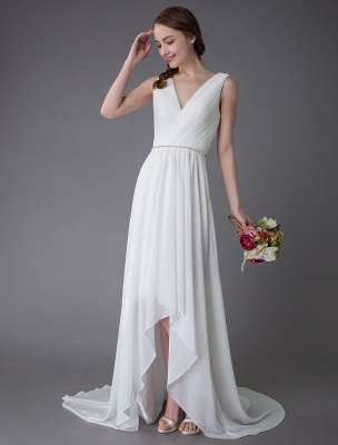 Beach Wedding Dresses Chiffon V Neck High Low Sash Summer Bridal Dress Exclusive_2