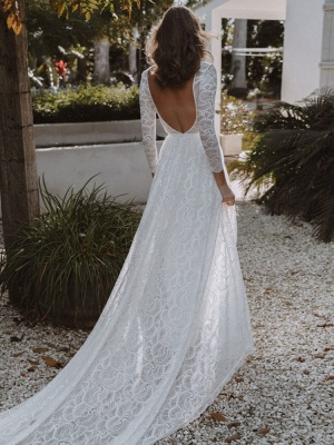 Ivory Lace Wedding Dress Chapel Train A-Line Long Sleeves Lace V-Neck Long Bridal Gowns_5