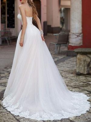 Robe de mariée Sweetheart Neck Longueur au sol sans manches Robes de mariée en dentelle avec train_2