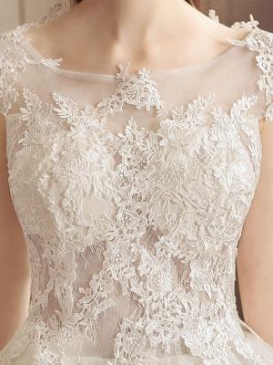 Lace Wedding Dresses Princess Bridal Gown Ivory Jewel Neck Short Sleeve Bridal Dress With Train_7