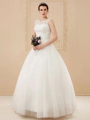 White Jewel Neck Sleeveless Soft Tulle Lace Up Floor Length Bride Dresses_3
