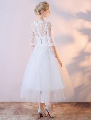 Vestidos de novia cortos Vestido de novia blanco con apliques de encaje de media manga hasta el té_4