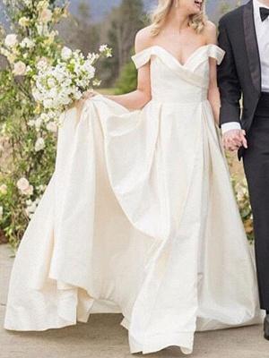 Vintage Brautkleider Schulterfrei Ärmellos Natürliche Taille Satin Stoff Gericht Zug Schärpe Brautkleid_1
