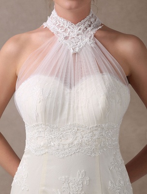 Beach Wedding Dresses Short Mermaid Bridal Dress Halter Open Back Lace Pleated Knee Length Wedding Gowns For Summer Exclusive_8