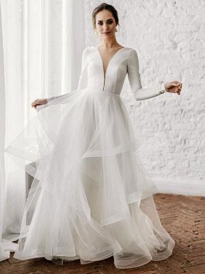 Weiße A-Linie Brautkleider Bodenlang Lange Ärmel Abgestufter V-Ausschnitt Natürliche Taille Bodenlange Brautkleider_1