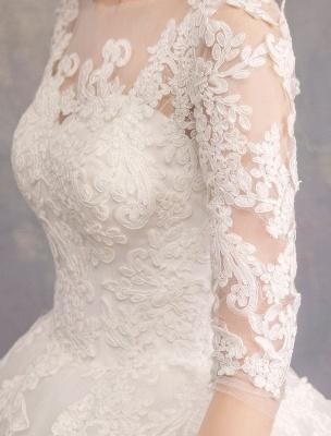 Prinzessin Brautkleider Spitze Illusion Ausschnitt Halbarm Bodenlangen Brautkleid_11