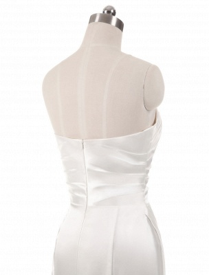 Ivory Wedding Dresses Strapless Mermaid Evening Dresses V Neck Sleeveless Split Beach Bridal Gown With Court Train_6